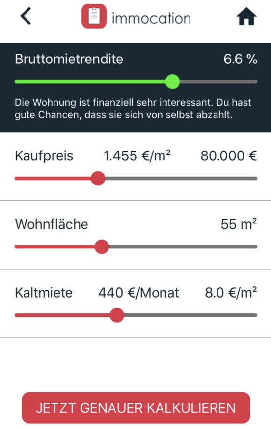 Immobilien Rendite Rechner App